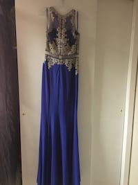 Blue and silver sleeveless long dress