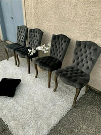 Stunning Tufted Grey Chairs