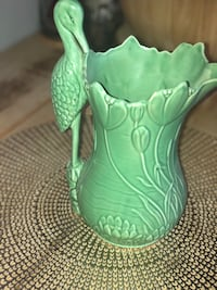Green ceramic vase made in England