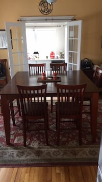 rectangular brown wooden table with six chairs dining set Medford, 02155