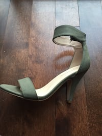 pair of forest green leather open-toe ankle strap heels Gatineau, J9J