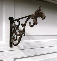 Cast Iron Horse Hanging Basket Wall Bracket New Westminster