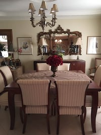 Rectangular brown wooden table with eight chairs dining set Montréal, H1T 3W8