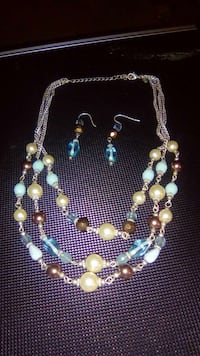 blue brown and white beaded silver chain multi str