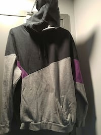 gray, black, and purple pullover hoodie