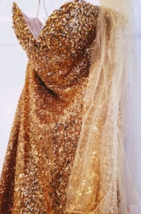 Gold Sequin Gown - Size 16 $200 OBO