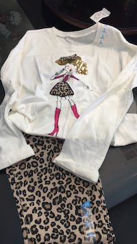 White crew-neck long-sleeve and leopard print pant