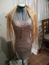 glittered brown spaghetti strap dress with brown fringe scarf North Las Vegas, 89030