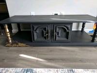 Grey and gold tv console