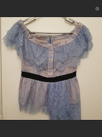Self portrait off shoulder fine lace top in blue,US 4 Toronto, M8Y 0A1
