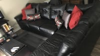 Leather sectional and pillows