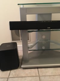 Glass TV stand with Polk Sound Bar and Subwoofer  North Potomac, 20878