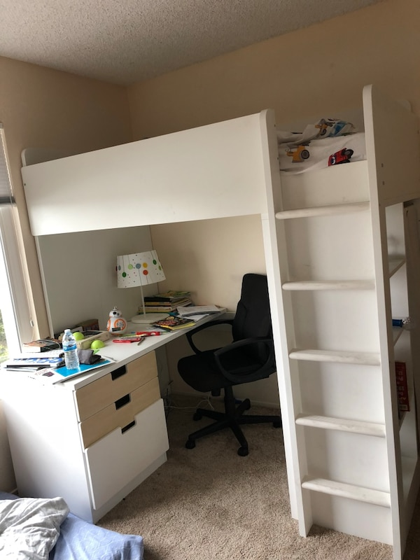 timeless design 7c4c1 3630f Ikea white loft / bunk bed for kids with study table