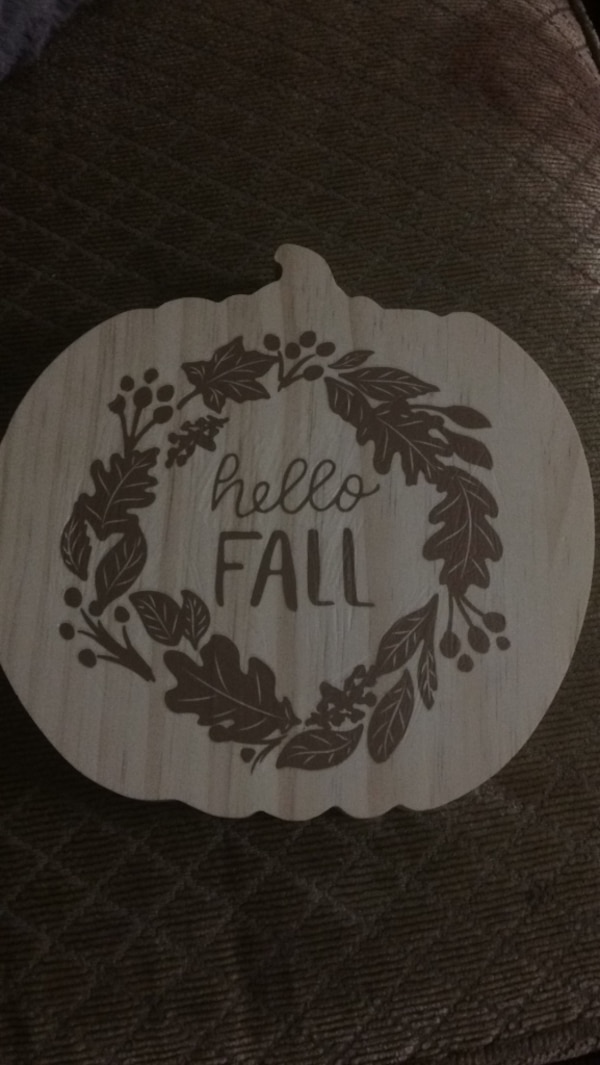 Hand decorated wooden pumpkin fall decor