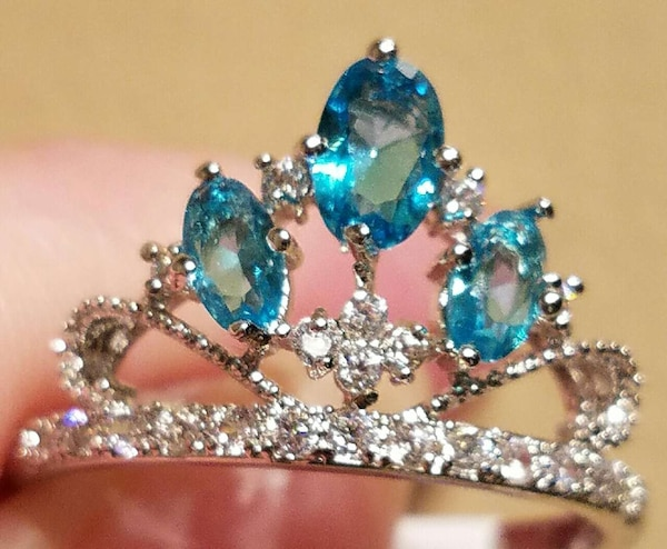 New! SALE $5 Off Aquamarine Topaz Crown Ring With  925bd6ed-f413-49b4-9b93-1d17baeda75c