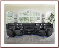 Black Lighted Sectional w Power Recliners Baltimore