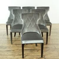 Set of Six Velvet Hourglass Dining Chairs (1027646)