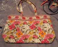 white,pink and green floral print shoulder bag