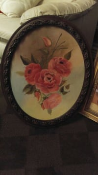 round brown and red floral ceramic plate
