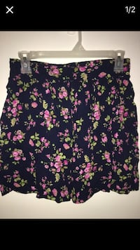 Women's black, pink and green floral elastic waist mini skirt
