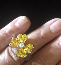 Facited Yellow & Clear Crystal Butterfly Ring  Bear, 19701