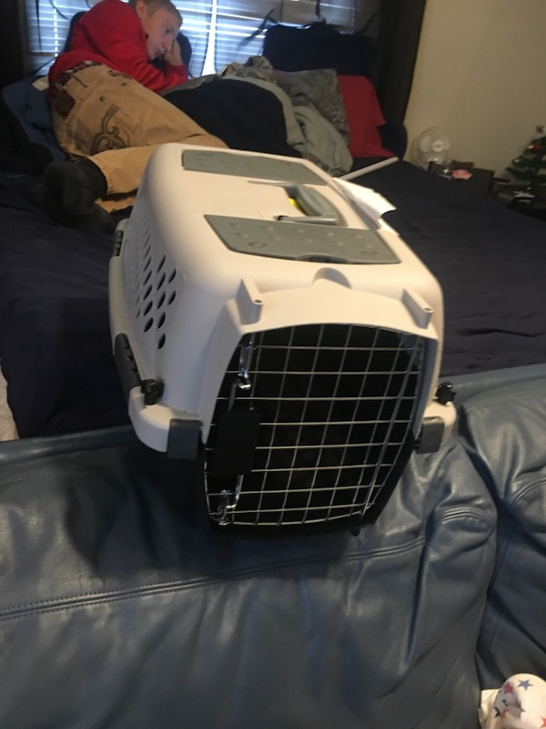 white and black plastic pet carrier