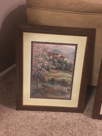 Brown wooden framed painting of trees Dumfries