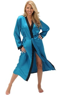 Alexander Del Rossa Womens Solid Colored Satin Robe, Long Dressing Gown Edmonton
