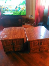 two brown wooden desk with cabinets