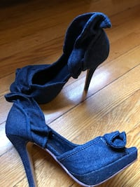 pair of blue open-toe heeled sandals