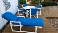 Patio Furniture,Table, 4 chairs and a chaise lounge.