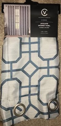 Brand New Curtain Panel (54 x 84 inches) Grommet Top Blue Lines