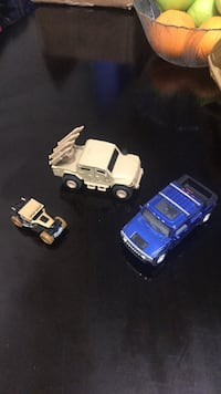 Blue and white plastic toy car