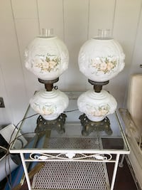 white and pink floral table lamp Bethesda