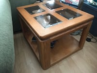 brown wooden framed glass top coffee table VICTORIA