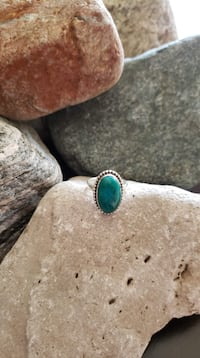 925 Sterling Silver Natural Chrysocolla Ring  -  Size 7 Burlington