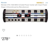 Monster HTS 1000 MKIII 8-Outlet Power Center with Clean Power Stage 2