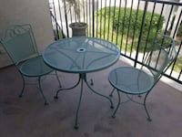 Patio set metal table with two chairs