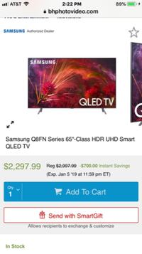 BRAND NEW SAMSUNG SMART 4K 240 HZ 65 INCH Q8FN QLED HDR ELITE