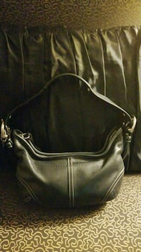 Authentic Small Black Leather Coach Hand Bag