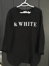 black and white & white printed crew-neck sweater