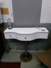 white and gray wooden side table