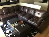 HUGE LEATHER CUIR SECTIONAL L COUCH SOFA DARK BROWN Montréal, H2X 2K3