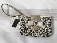 Gray and black leopard print Guess wristlet