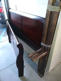 Full-sized, Cherry Wood,  Sleigh Bed (Head & Foot board) with rails.