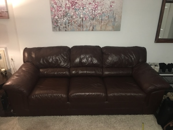 Leather Couch Set (Brown )