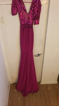 Red and pink deep v neck glittered elbow sleeve bodycon dress
