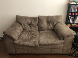 Faux suede love seat