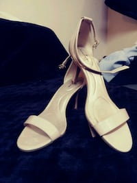 pair of white leather open-toe heeled sandals 906 mi