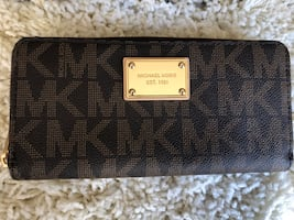 Large Brown & Gold Michael Kors Logo Wallet